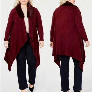 *NWT* Say What?  Faux Fur Collar Cardigan Sweater